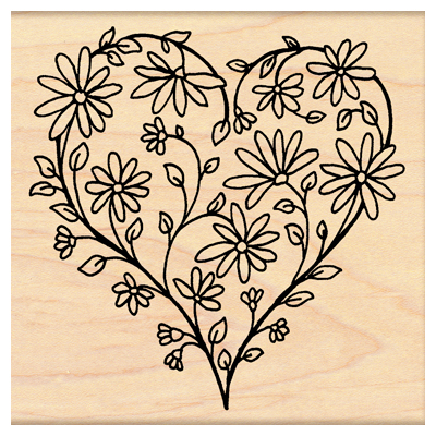 Rubber Stamps - Item #PB-4291K. Daisy Heart - Rubber Stamp. by Penny